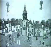 montgolfiere au-dessus du village by grand'mere paris (elise guerrebout)