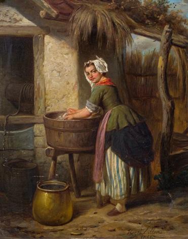 die wäscherin by hendrick joseph dillens