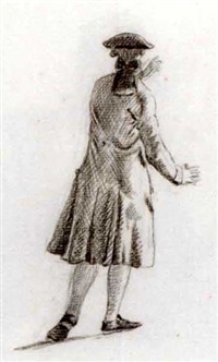 a standing gentleman moving to the right, seen from behind by nicholaes muys