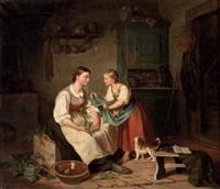 bauernmädchen mit kätzchen in der küche by august heinrich niedmann