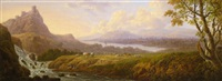 scottish pastoral scene with an angler in a landscape with loch beyond by charles towne