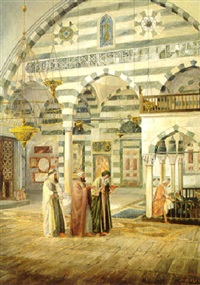 la prière dans une mosquée de damas by j.a. holzer