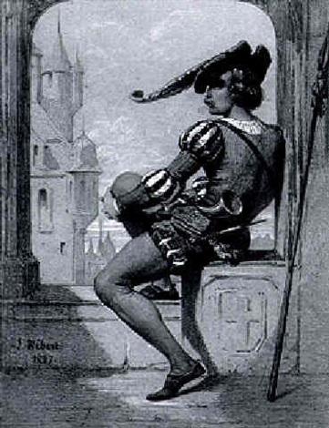 waechter in renaissancekleidung bei der arkadenoeffnung eines schlossfensters by jules herbert