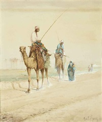 arab travellers on an egyptian road by carl haag