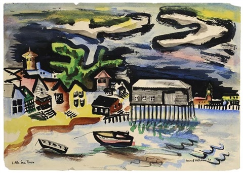 little sea town (+ 2 others, 1 watercolor, pen and ink; 3 works, various sizes) by howard mitcham