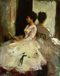 jeune fille à la lecture by lucien henri grandgerard