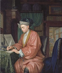 a doctor working in his study, with an assistant preparing medicine in a room beyond by christoffel lubieniecki