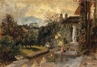 terrasse mit blumengarten, rechts im bildhintergrund maria plain(?) by paul reiffenstein