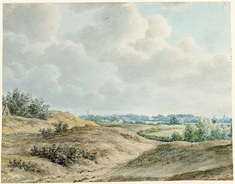 a dune landscape with a church tower and a mill in the background by pieter de goeje