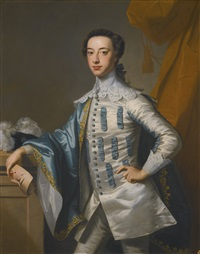 portrait of sir james lowther, 1st earl of lonsdale three-quarter length, holding a mask in his right hand by thomas hudson