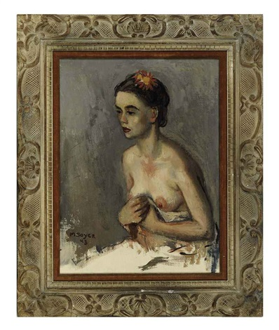 a female nude seated by moses soyer
