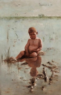 young child by the sea by arthur (artur) tölgyessy