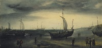 a north sea beach scene, with fishing pinks coming ashore and larger vessels offshore by hendrik cornelisz vroom