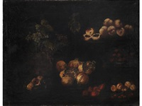 still life of pomegranates, peaches and grapes by italian school-roman (17)