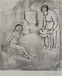 grand mère et louise assise à la terre by suzanne valadon
