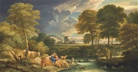 an extensive wooded river landscape with a drover and a shepherdess at rest with their herd on a shore by pieter mulier the younger