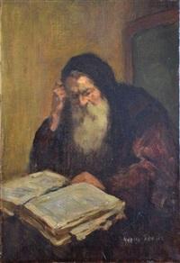 portrait d'homme lisant by marcel arnaud