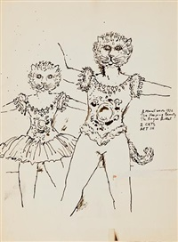 the sleeping beauty (3 costume sketches for the sleeping beauty of cattalabutte) by benito (beni) montresor