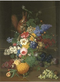 roses, narcissi and other flowers in a basket with a red squirrel holding blackberries, pineapple, grapes, gooseberries, plums, greengages, a peach, a cherry and a walnut on a stone floor by josef knapp