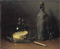a still life with cheese and wine by guillaume romain fouace
