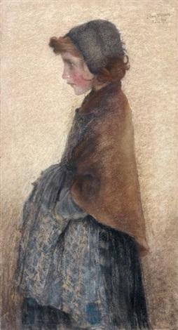 jeune fille rousse au bonnet by lucien lévy dhurmer