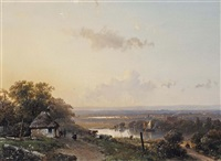a panoramic river landscape with travellers on a path by andreas schelfhout