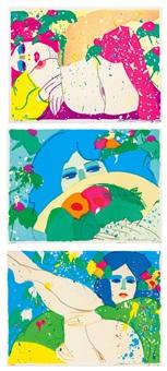 a.嬌豔紅髮 b.持扇的藍眼女子 c.藍髮女孩 (erotic compositions) (set of 3) by walasse ting