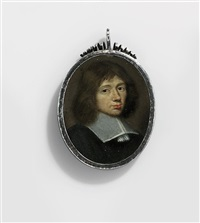 a young gentleman, in black satin doublet, white lawn collar with tasselled band strings, shoulder-length chestnut hair by franciszek smiadecki