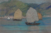 sails in the harbour (#56) (+ sails in the harbour (#58), 2 works) by mary alexandra eastlake