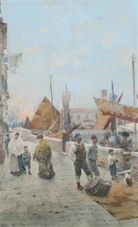 Giuseppe Vizzotto Alberti, Harbour scene, 1892