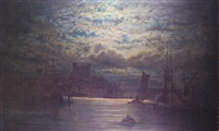 rochester castle by moonlight by adolphe ragon
