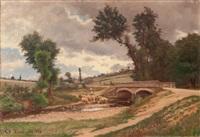 bergère et son troupeau au pied d'un pont by theodore lespinasse