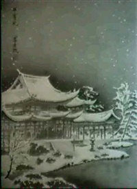 heito-tempel in kyoto bei einsetzendem schneefall by tomikichiro tokuriki