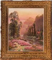 paysage du lot animé au champ de bruyères, chateau en ruine et maison by gaston anglade