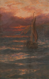 evening, coast of sark and morning, le gouffre, guernsey (pair) by thomas rose miles