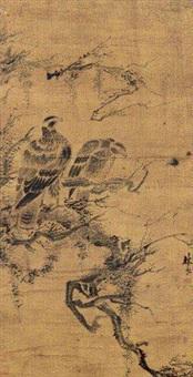 双鹰图轴 by lin liang