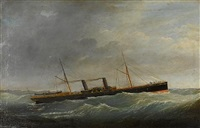 "the irish sea paddle steamer ""camel"" in a heavy sea by joseph semphill"