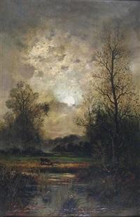 landscape with cow by bernard de haas
