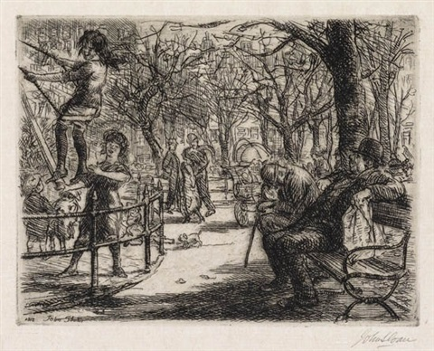 swinging in the square by john french sloan