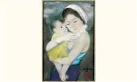jeune femme à l'enfant by le thi luu