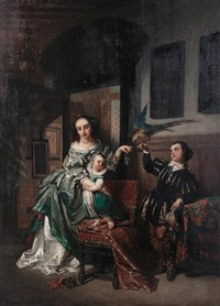 the pet bird (+ the physician's visit; pair) by charles van den daele