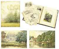 a collection of works including: three landscapes, a book of illustrations along with seventeen illustrated letters and christmas cards to the artist arthur spencer baines (multiple works) by edward hull