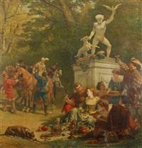 joyeuse compagnie au parc by cesare felix georges dell' acqua