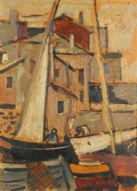 veduta di case e imbarcazioni by luigi bassano