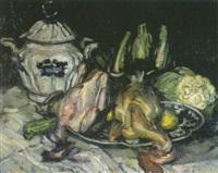 stilleben mit hühnern und gemüse by julius hess