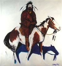 chief white face on horseback by santiago pérez