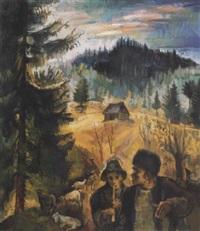 erdélyi táj pásztorokkal (shepherds) by imre zsögödi nagy