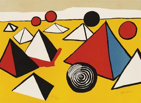 composition with pyramids and spiral red flare on yellow circle red blue and yellow flowers verticle composition of pyramids grey red and black circles on yellow 5 works various sizes by alexander calder