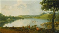 prospect of gatton park, surrey (from the lake, with rustics in the foreground) by george barret