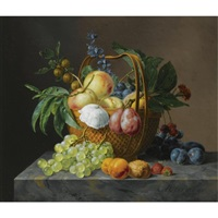 a still life with fruit and flowers in a basket by anthony oberman